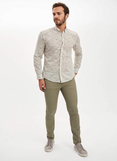 DeFacto Desenli Slim Fit Gömlek Bej